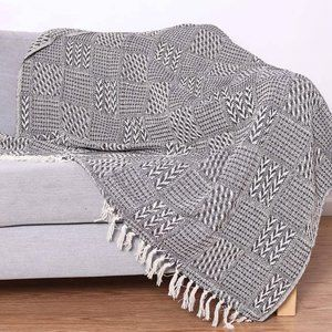 New Block Patterned Cotton Throw Blanket - 50 x 70